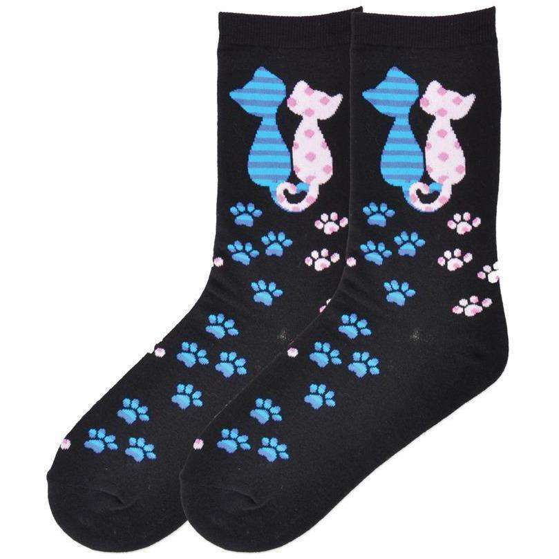 Women's Cat Love Crew Socks - K. Bell