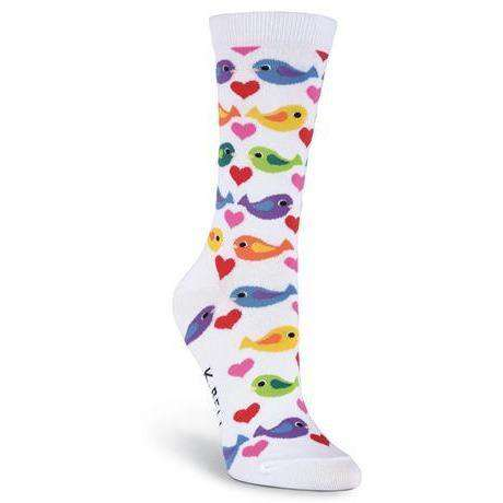 Women's Colorful Birds Novelty Crew Socks - K. Bell