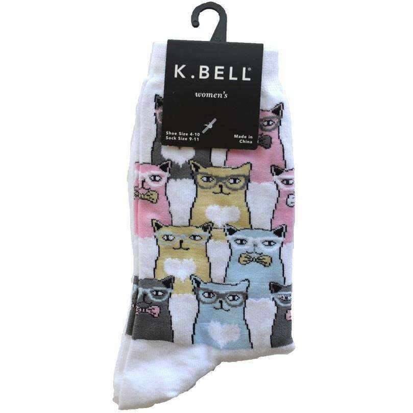 Women's Smarty Cats Crew Socks - K. Bell