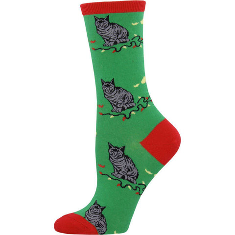 Sock Smith Holiday Socks Green / Women's 4 - 10 Christmas Cat-Astrophe Socks  | Crew Socks for Women