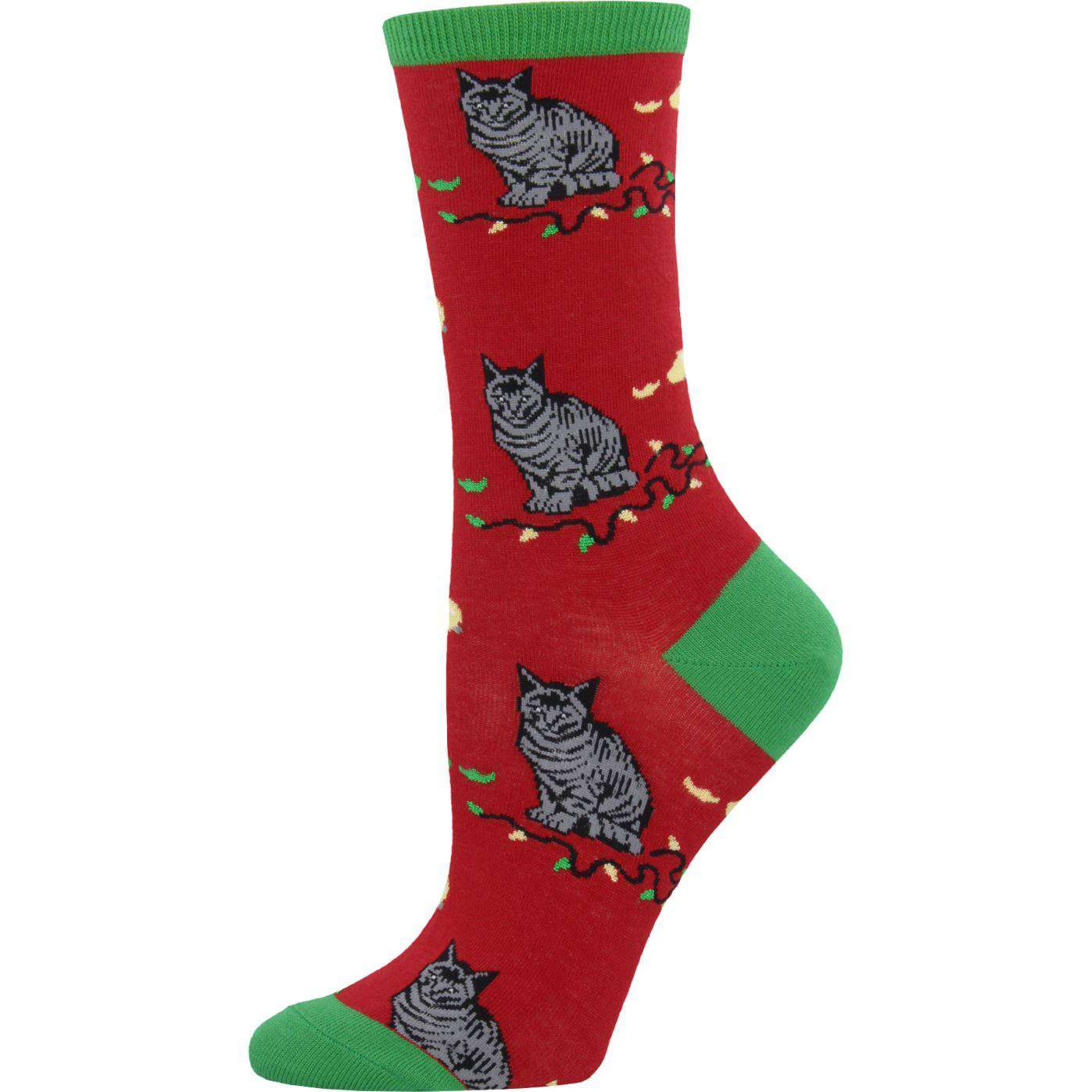 Sock Smith Holiday Socks Red / Women's 4 - 10 Christmas Cat-Astrophe Socks  | Crew Socks for Women