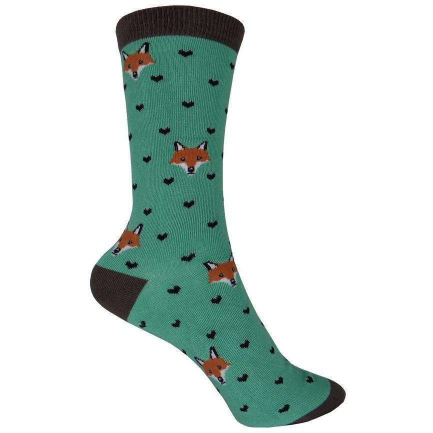 Sock Smith Novelty Socks Bamboo Fox Lover Crew Socks  | Animal Socks for Women