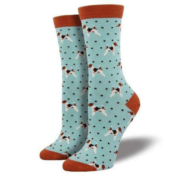 Sock Smith Novelty Socks Bamboo Terriers Cloud Blue Crew Socks | Dog Socks for Women