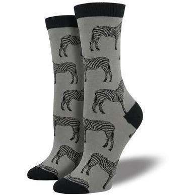 Sock Smith Novelty Socks Bamboo Zebra Striped Socks | Animal Socks for Women