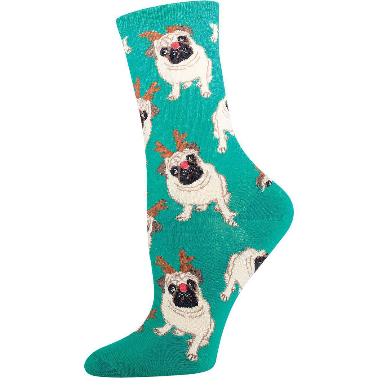 SockSmith Holiday Socks Antler Pug | Fun Crew Socks for Women