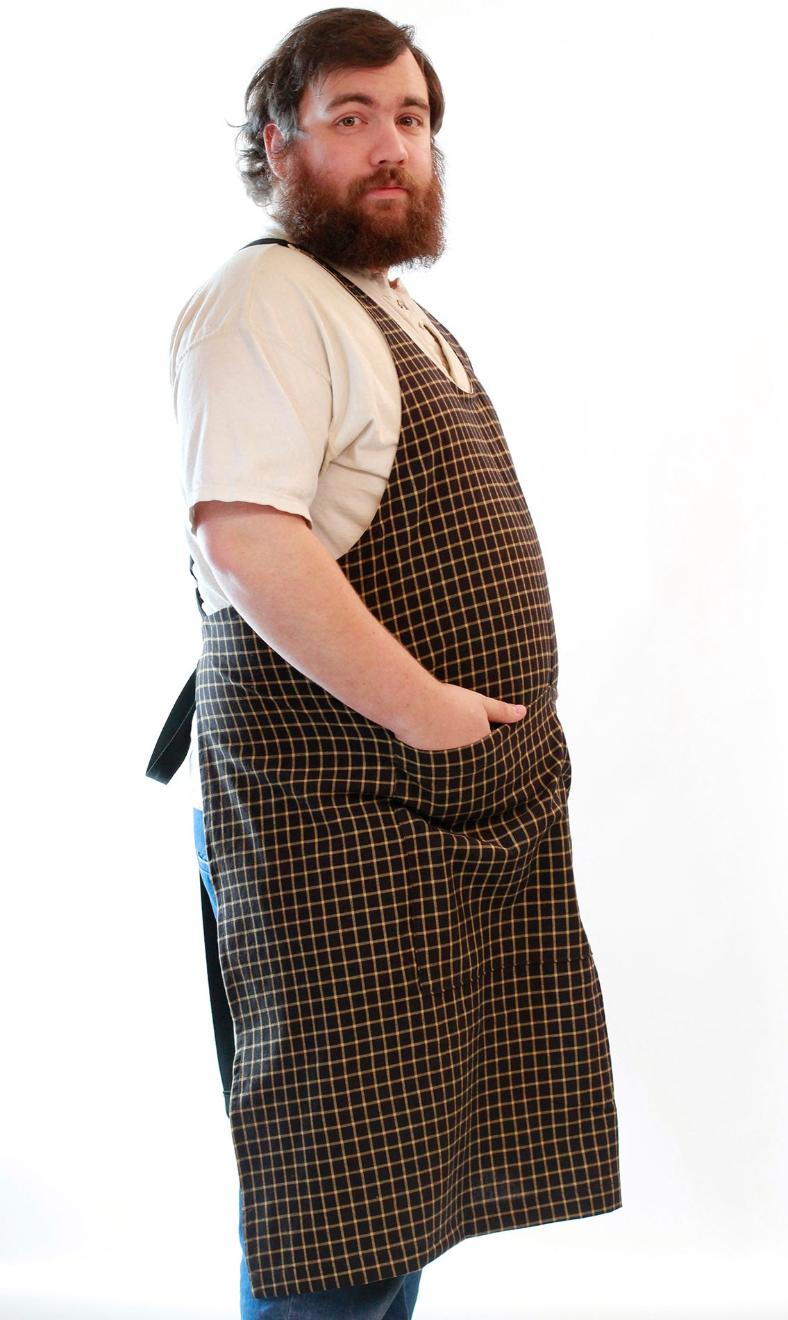 Black Stripe Homespun Chef Apron - side view