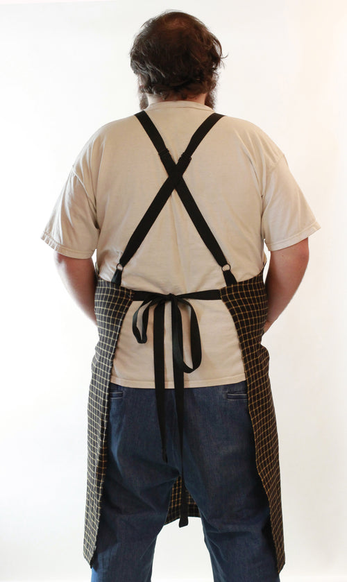 Black Stripe Homespun Chef Apron - Crossback view