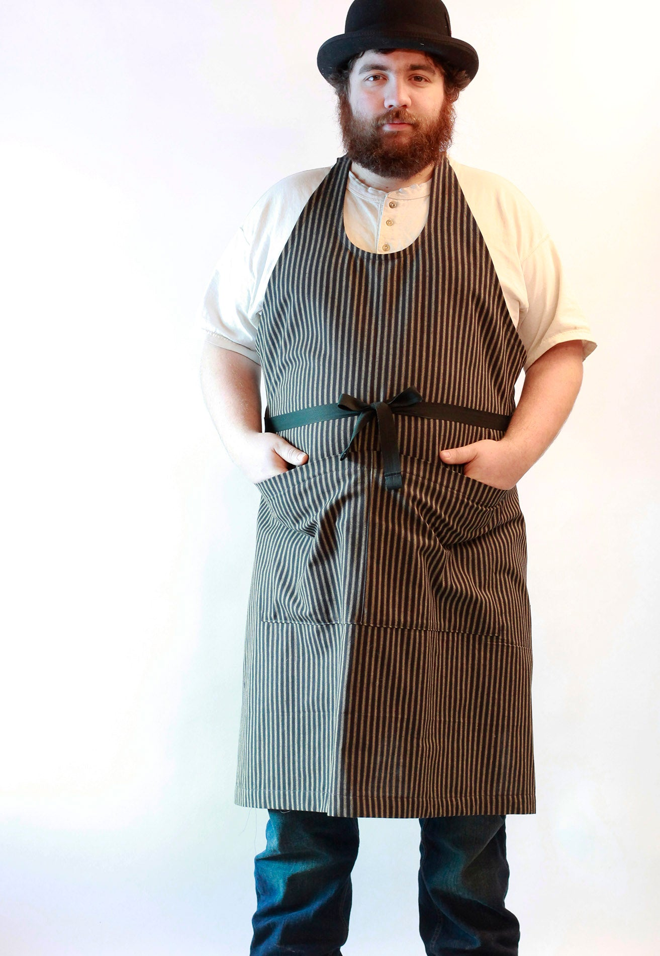Basic Chef Apron in Black Strip Homespun