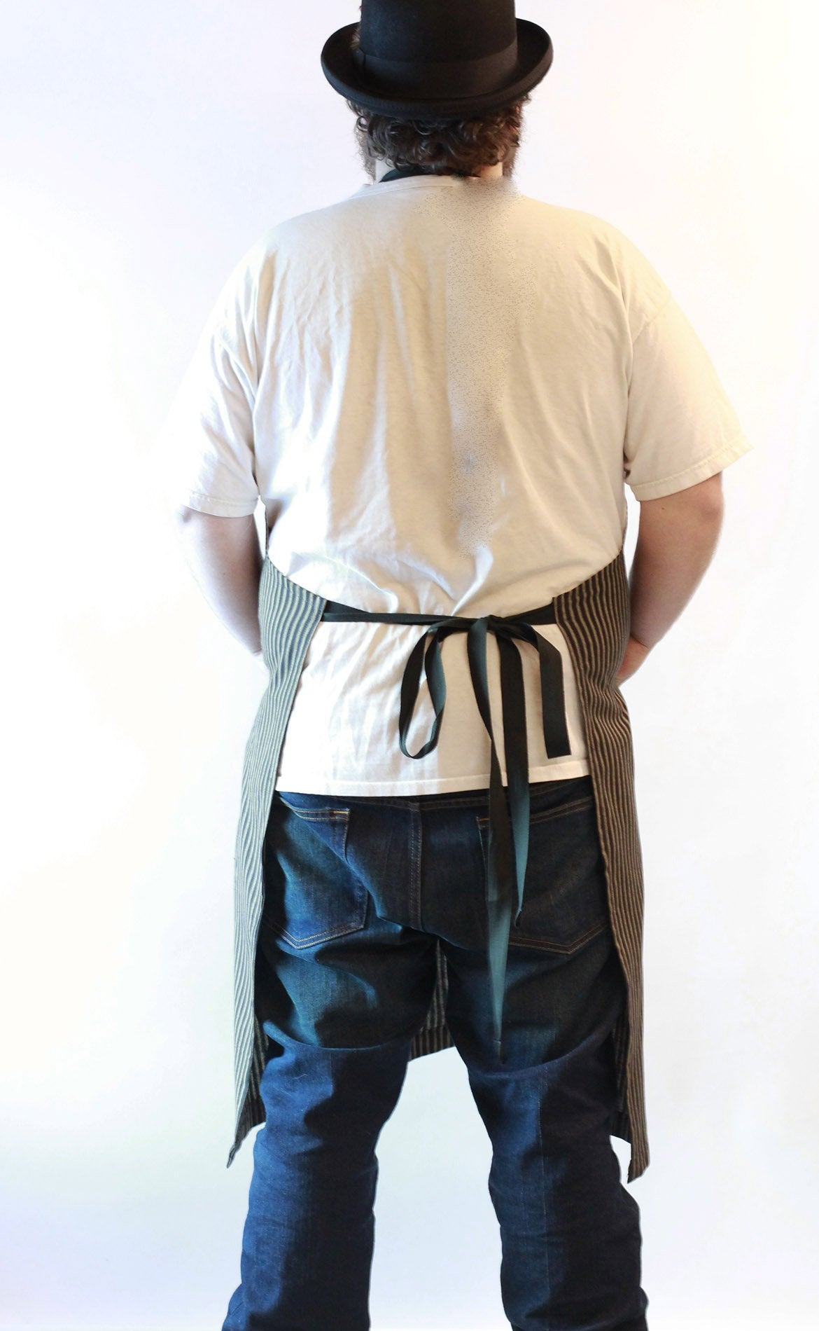 Black Stripe Homespun Chef Apron - Neck strap view