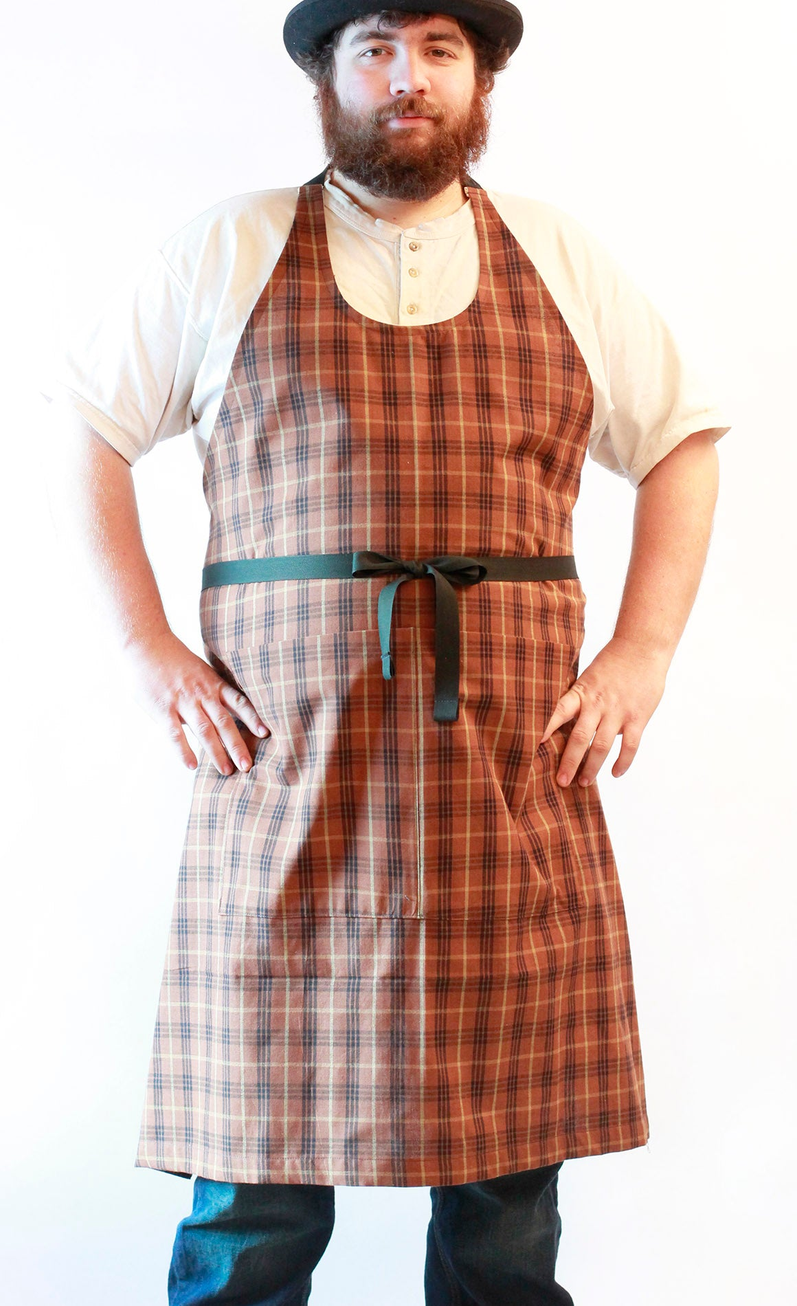 Black Stripe Homespun Chef Apron - front view 2