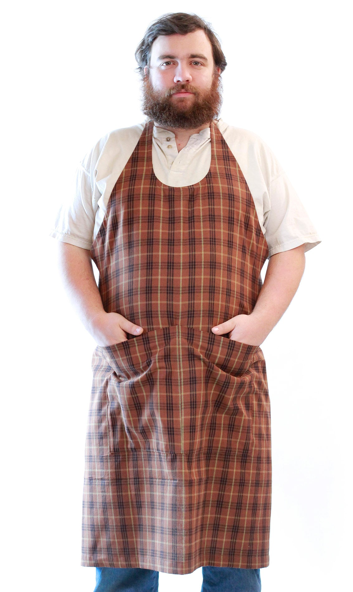 Brown Stripe Homespun Chef Apron - front view