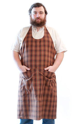 Basic Chef Apron in Black Plaid Homespun