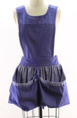Gathering Apron with Bib Top in Denim, front view