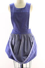 Gathering Apron with Bib Top in Denim, front view, loosened