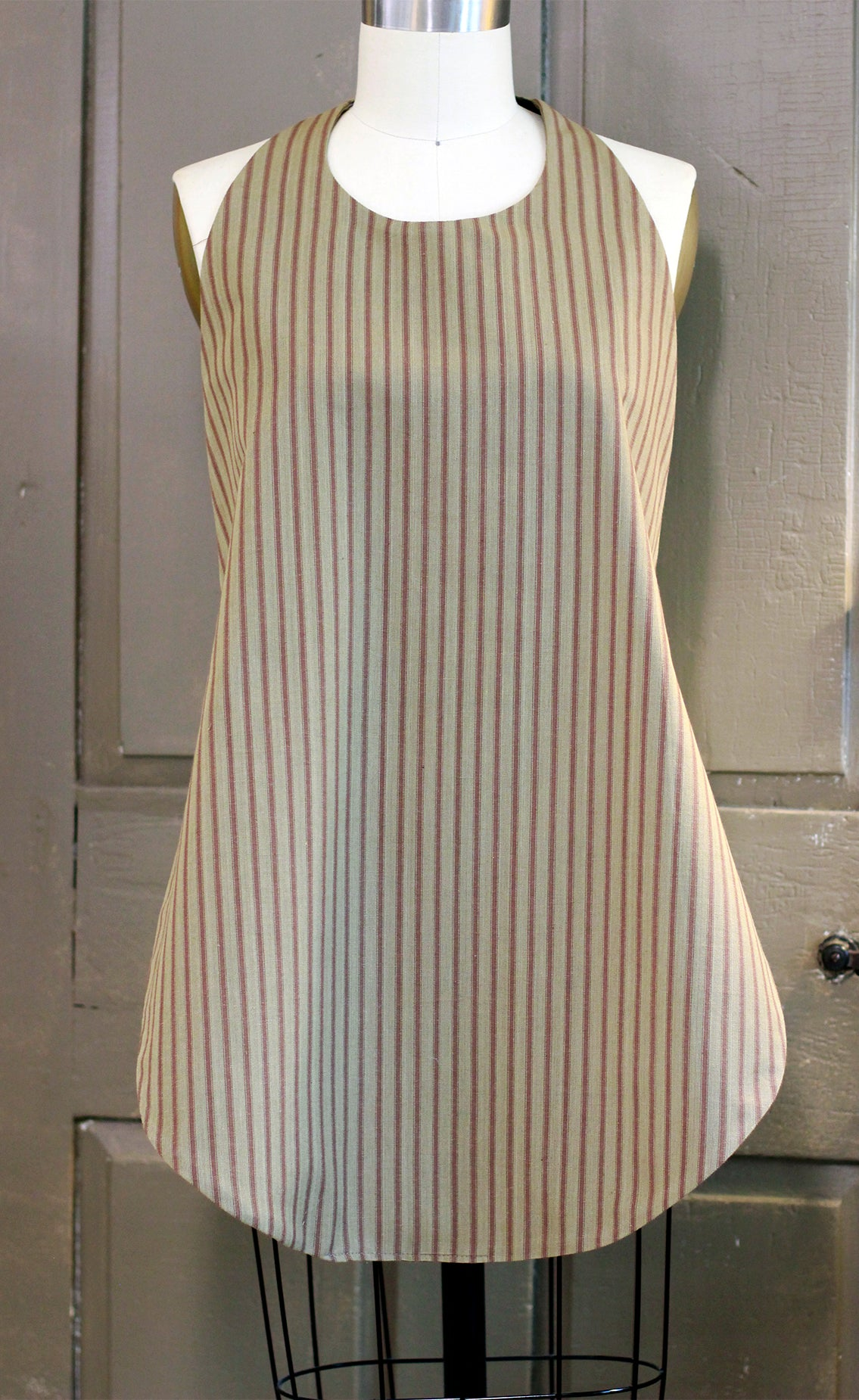 Bib for Adults in Brown Stripe Homespun