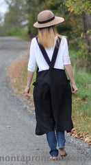 XS-5X No Tie Crossback Apron in Black 100% Flax Linen, back view
