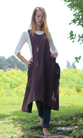 XS-5X  Hippy Apron in Charcoal Gray 100% Flax Linen