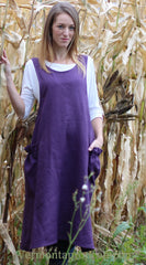 XS-5X No Tie Crossback Apron in Eggplant 100% Flax Linen, front view