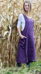 XS-5X No Tie Crossback Apron in Eggplant 100% Flax Linen, front/ side view