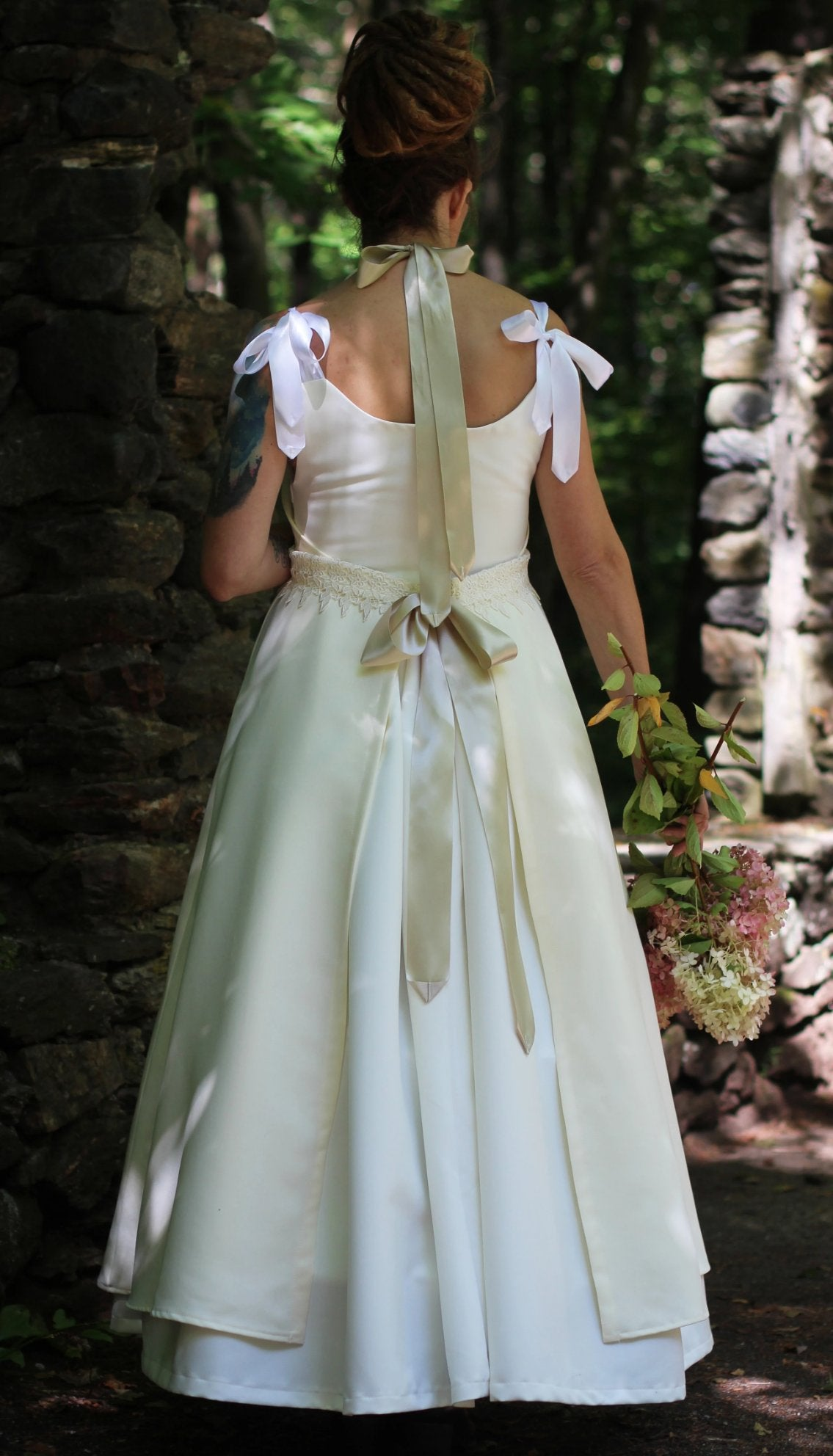 Bridal Apron with Empire Waist - Back view