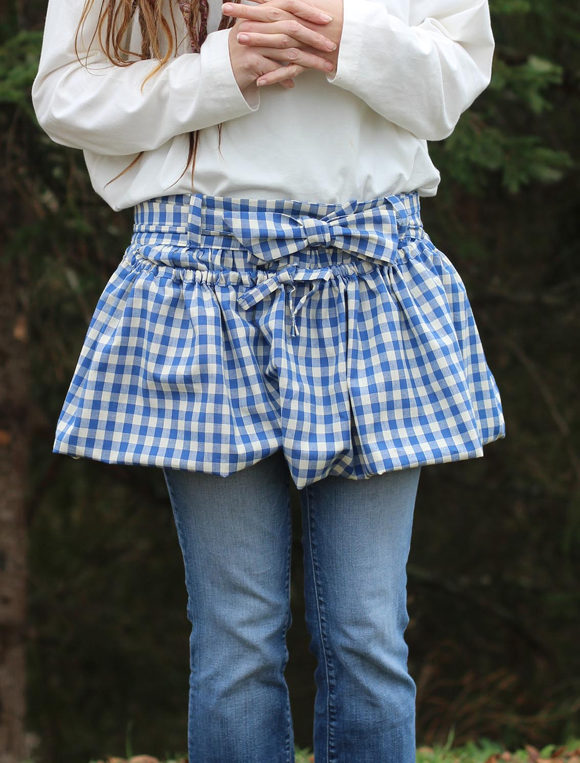 Gathering Apron in Blue and White Plaid 100% Cotton Homespun in Reg and Plus Size