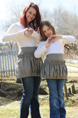 Me and Mommy Ruffled Gathering Apron Set in Colonial Blue Homespun