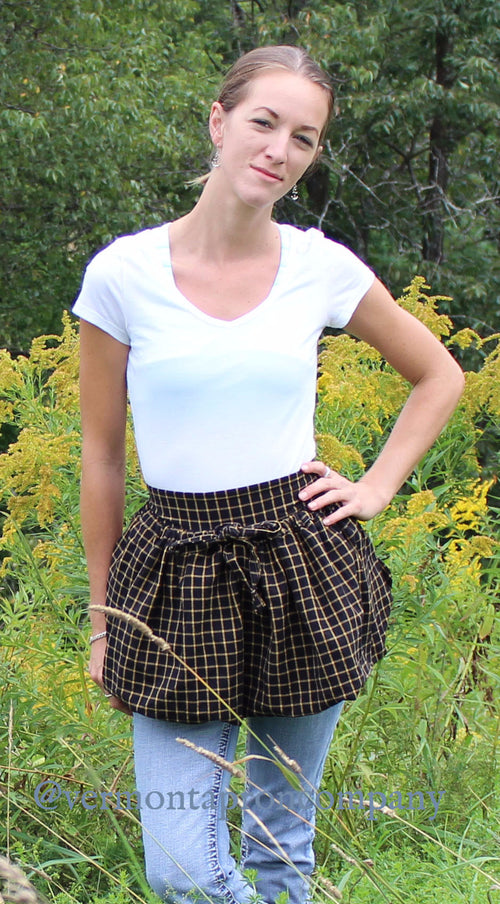 Gathering Apron in Black Plaid 100% Cotton Homespun in Reg and Plus Size, front view