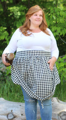 Gathering Apron in Black and White Plaid 100% Cotton Homespun in Reg and Plus Size, front view, un-gathered