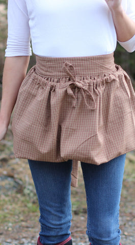 Gathering Apron in Red 100% Cotton Homespun Reg and Plus Size
