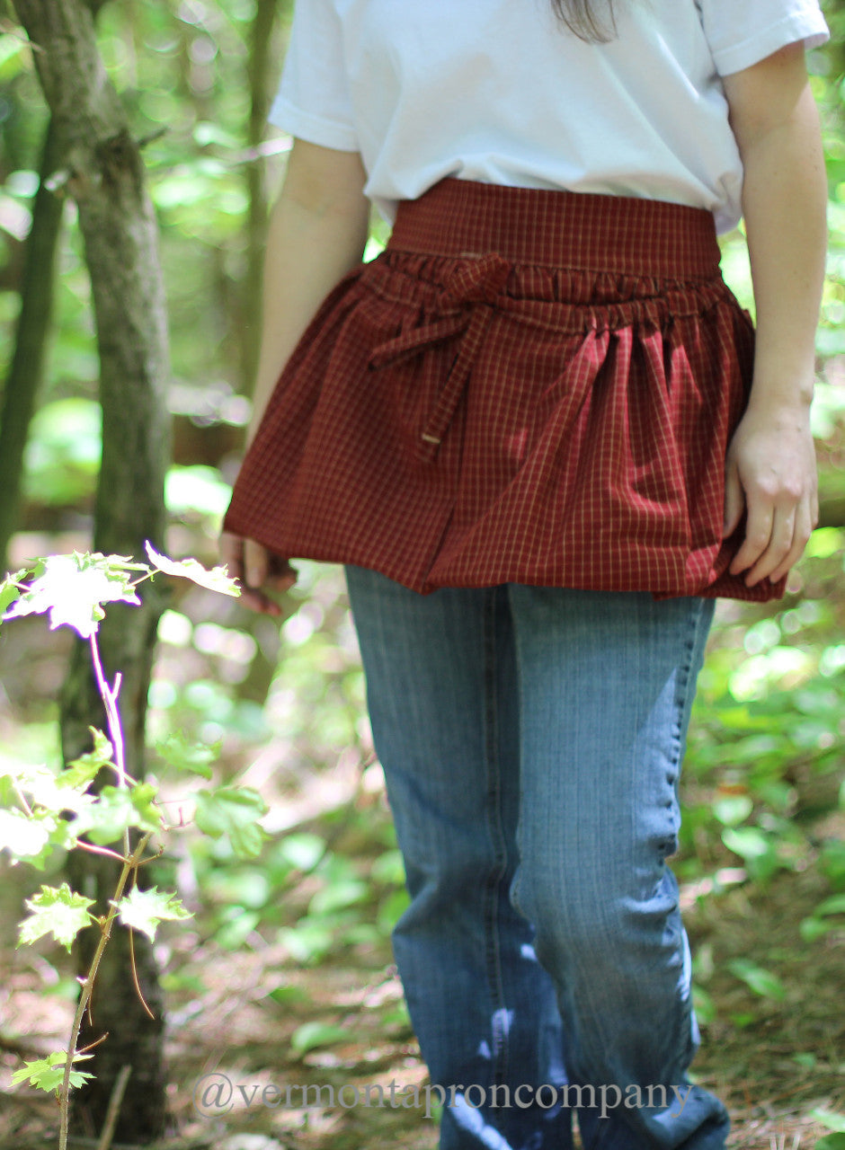Gathering Apron in Red 100% Cotton Homespun Reg and Plus Size, front view