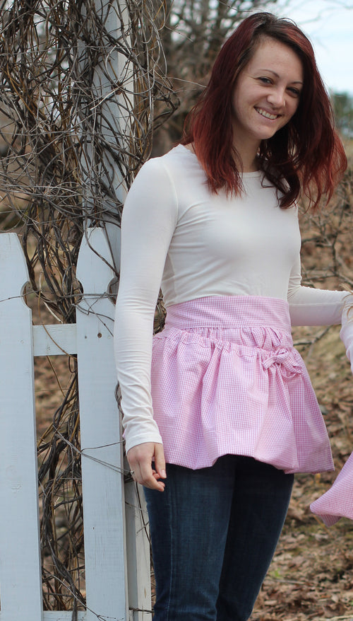 Gathering Apron in Pink 100% Cotton Homespun