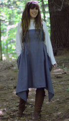 Grey Linen Hippy Apron - front view