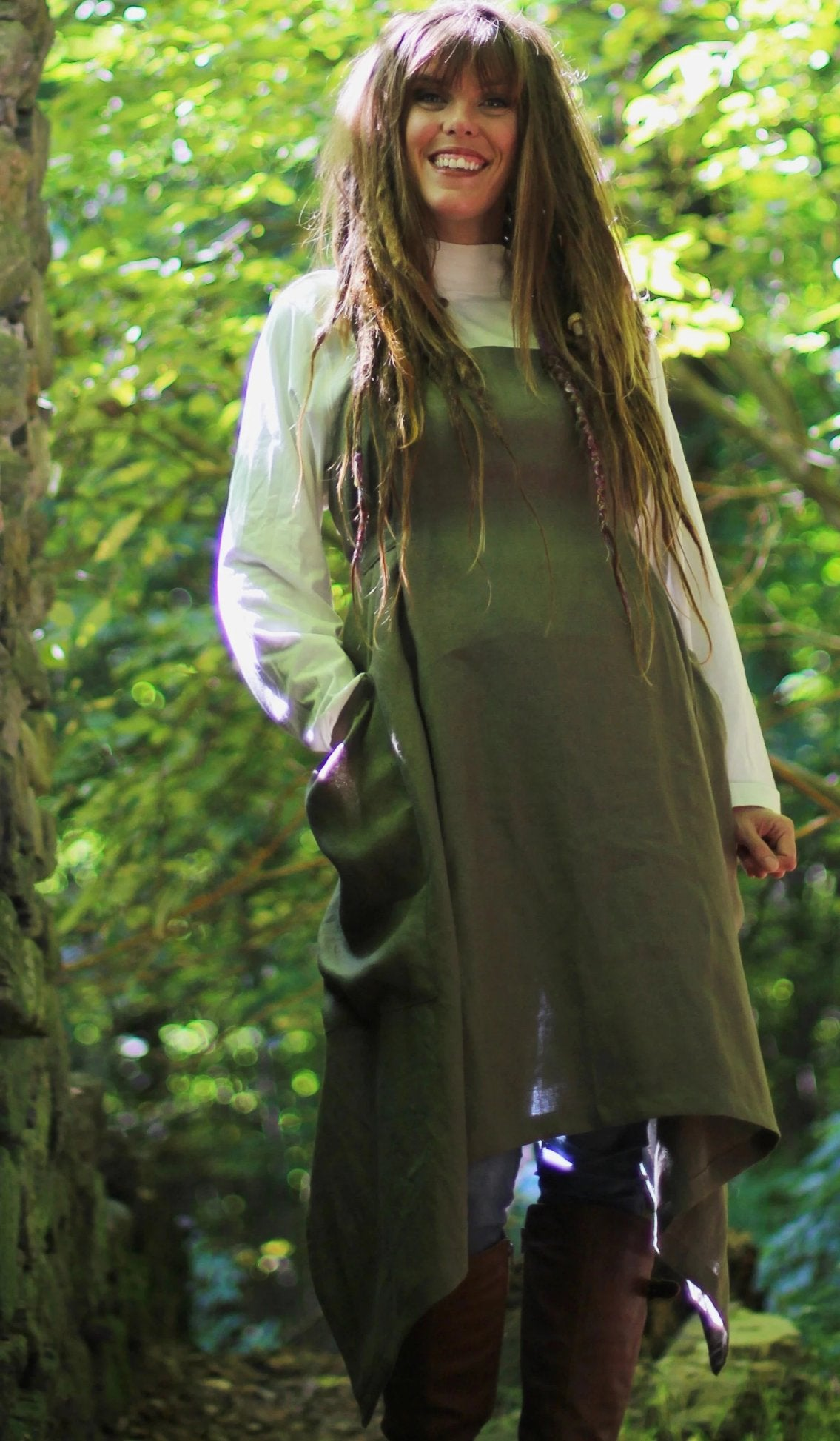 Olive Linen Hippy Apron- alternate front view