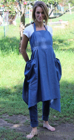 Gathering Apron in Black Denim in Reg and Plus Size