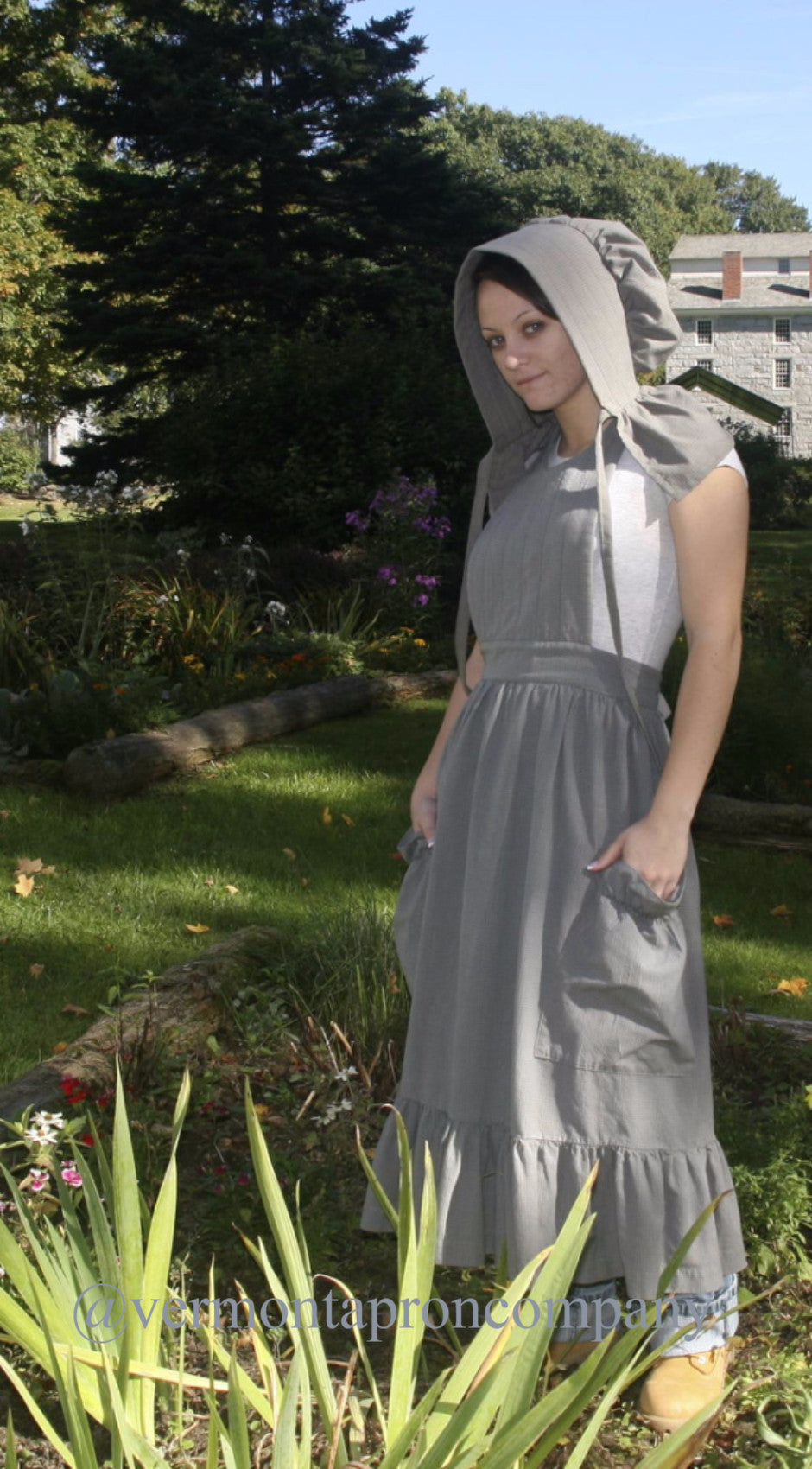 Prairie Apron in Country Blue 100% Cotton Homespun, front/ side view