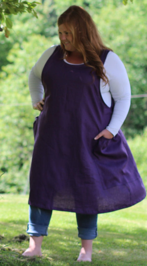 S-5X Jumper in Eggplant 100% Flax Linen, plus size, front/ side view
