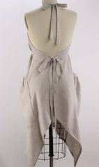 XS-5X  Hippy Apron in Oatmeal 100% Flax Linen, back view