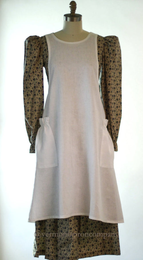 XS-5X No Tie Crossback Apron in White 100% Flax Linen, front view