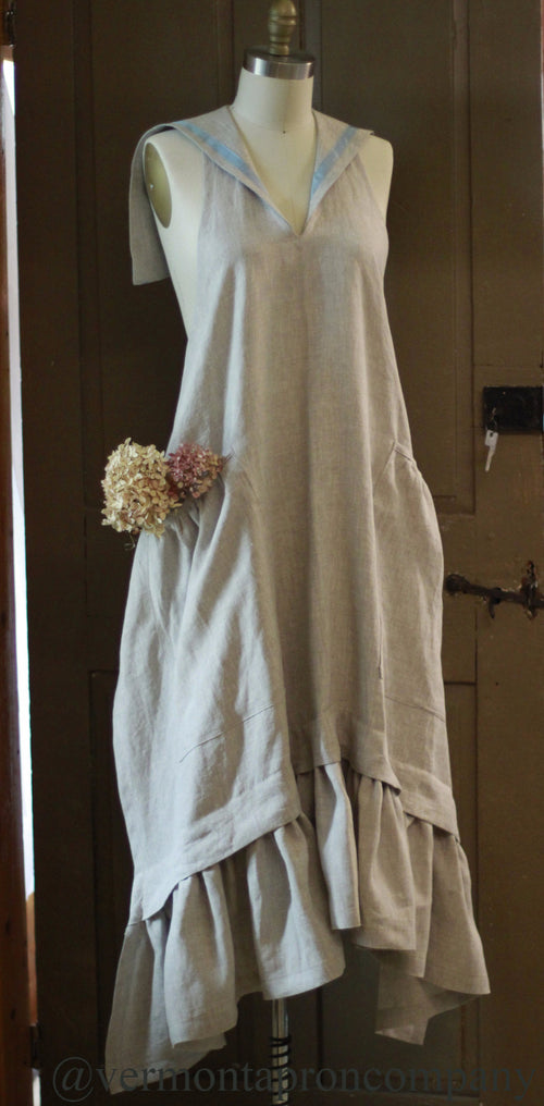 XS-5X  Linen Sailor Apron in 100% Flax Linen, front view