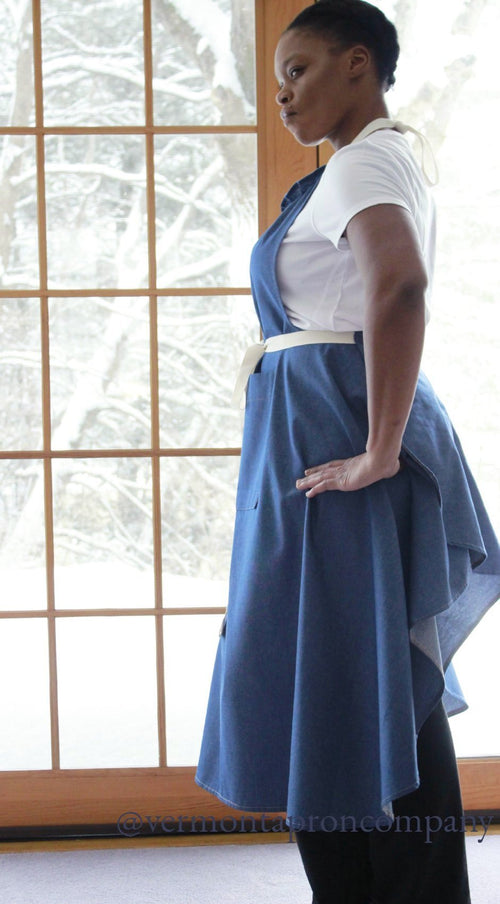 XS - 5X Long Bib Apron in Denim, side view
