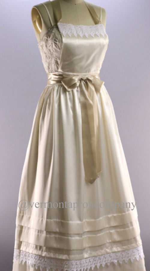 Satin Bridal Apron with Pleated Lace Skirt.