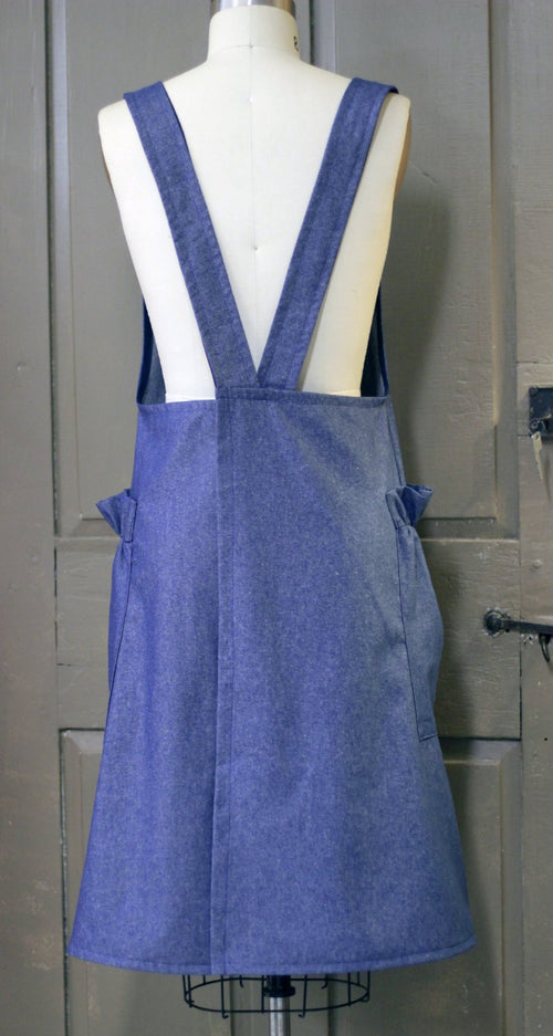 XS-5X No Tie Crossback Apron Maternity Apron in Navy Denim, back view