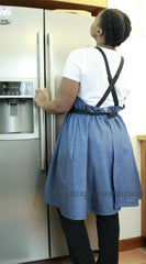 XS-5X A-Line Crossback Apron in Denim, back view