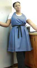 XS-5X A-Line Crossback Apron in Denim, front view