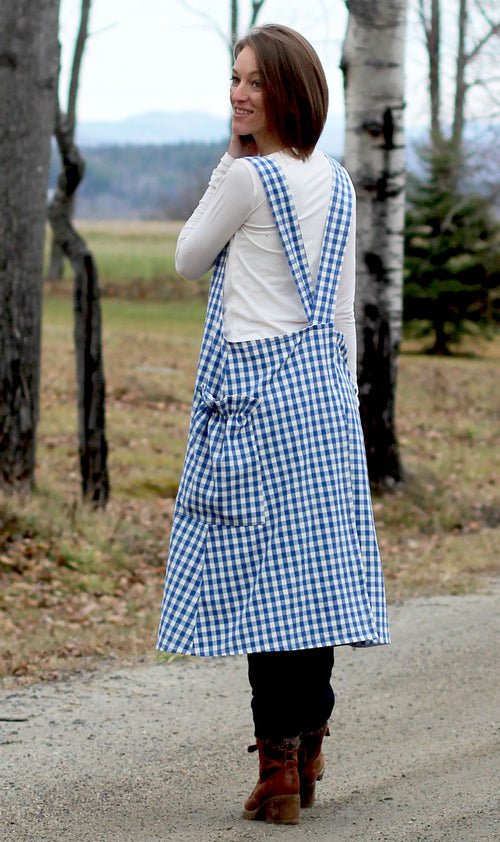 No Tie Apron in Blue and White Check - Back View