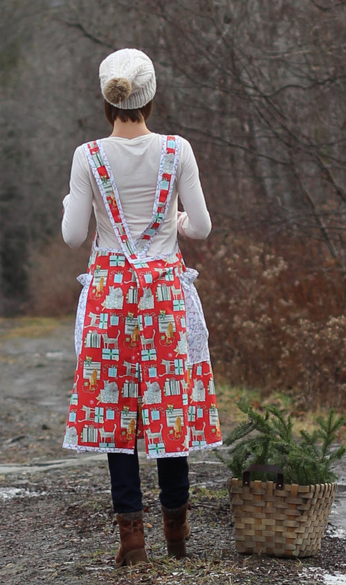 XS-5X Holiday Gifts and Cats in Red- No Tie Crossback Apron - Back View