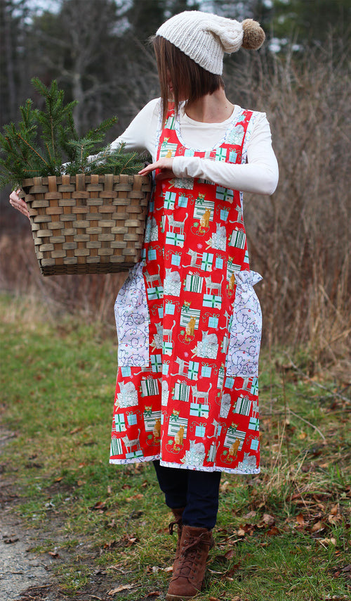 XS-5X Holiday Gifts and Cats in Red- No Tie Crossback Apron - Front View