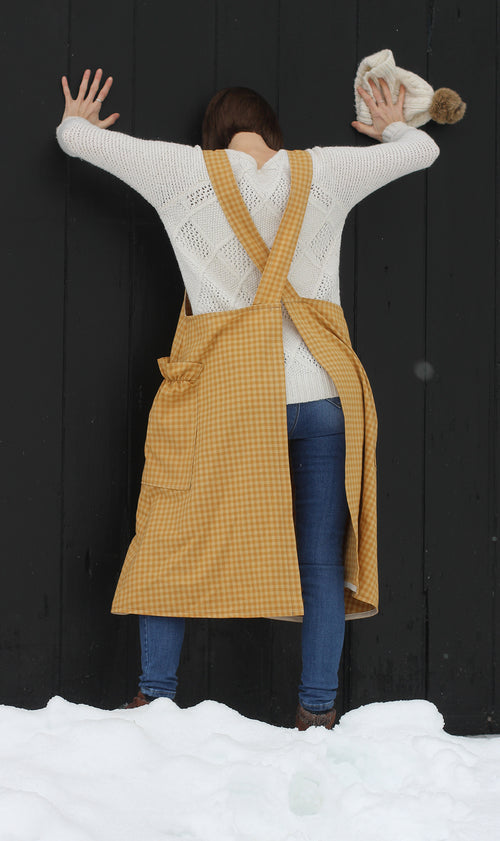 Yellow Plaid Homespun No Tie Apron by The Vermont Apron  Company - back view