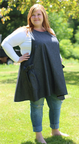 XS-5X Hippy Apron in Black Denim