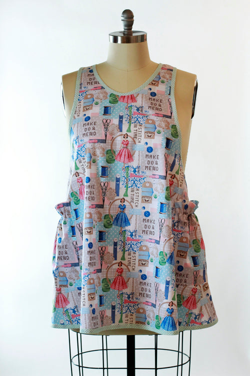 Sewing Print No Tie Apron - front view